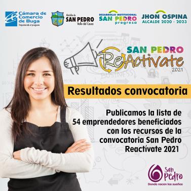 Resultados convocatoria San Pedro Reactívate 2021